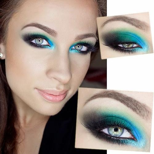 Amei essa mistura de verde, azul e preto. Lindissimo!